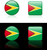 Guyana Flag Buttons on White and Black Background — Stock Vector