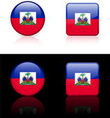 Haiti Flag Buttons on White and Black Background — Stock Vector