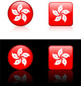 Hong Kong Flag Buttons on White and Black Background — Stock Vector