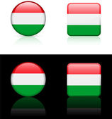 Hungary Flag Buttons on White and Black Background — Stock Vector