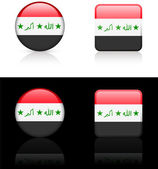 Iraq Flag Buttons on White and Black Background — Stock Vector