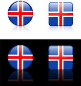 Iceland Flag Buttons on White and Black Background — Stock Vector