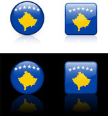 Kosovo Flag Buttons on White and Black Background — Stock Vector