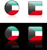 Kuwait Flag Buttons on White and Black Background — Stock Vector