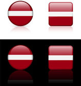 Latvia Flag Buttons on White and Black Background — Stock Vector