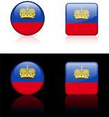 Liechtenstein Flag Buttons on White and Black Background — Stock Vector
