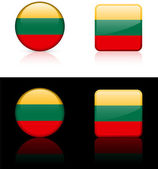 Lithuania Flag Buttons on White and Black Background — Stock Vector