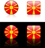Macedonia Flag Buttons on White and Black Background — Stock Vector
