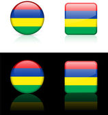 Mauritius Flag Buttons on White and Black Background — Stock Vector