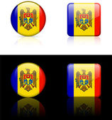 Moldova Flag Buttons on White and Black Background — Stock Vector