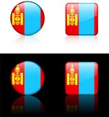 Mongolia Flag Buttons on White and Black Background — Stock Vector