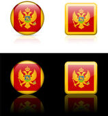 Montenegro Flag Buttons on White and Black Background — Stock Vector