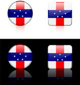 Netherlands Antilles Flag Buttons on White and Black Background — Stock Vector