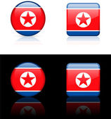 North korea Flag Buttons on White and Black Background — Stock Vector