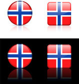 Norway Flag Buttons on White and Black Background — Stock Vector