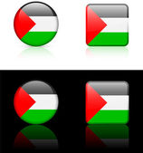Palestine Flag Buttons on White and Black Background — Stock Vector