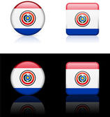 Paraguay Flag Buttons on White and Black Background — Stock Vector