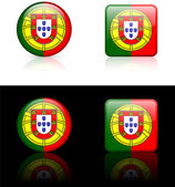 Portugal Flag Buttons on White and Black Background — Stock Vector
