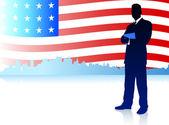 Biznesmen z amerykańską flagę tło — Wektor stockowy