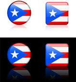 Puerto Rico Flag Buttons on White and Black Background — Stock Vector