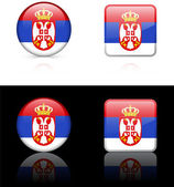 Serbia Flag Buttons on White and Black Background — Stock Vector
