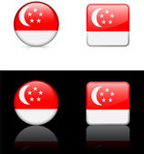 Singapore Flag Buttons on White and Black Background — Stock Vector