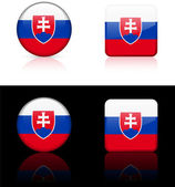 Slovakia Flag Buttons on White and Black Background — Stock Vector