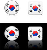 South Korea Flag Buttons on White and Black Background — Stock Vector