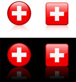 Swiss Flag Buttons on White and Black Background — Stock Vector