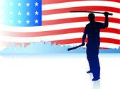 Karate Sensei with Sword on Skyline and USA Flag Background — Stock Vector