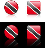 Trinidad Flag Buttons on White and Black Background — Stock Vector