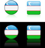 Uzbekistan Flag Buttons on White and Black Background — Stock Vector