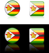Zimbabwe Flag Buttons on White and Black Background — Stock Vector