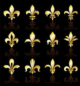 Fleur de lis design collection — Vettoriale Stock