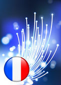 France Internet Button with Fiber Optic Background — Stock Vector