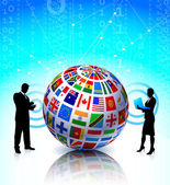Business Couple with Flags Globe — Stock Vector