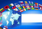 Küp küre ile dünya bayrakları bayrak — Stok Vektör