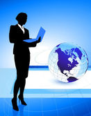 Mulher de negócios sobre fundo de globo — Vetorial Stock