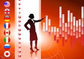 Geschäftsfrau mit Internet-Flagge-Tasten-Hintergrund — Stockvektor