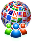 User Group with Flags Globe — Stock Vector