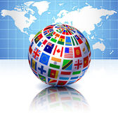 Flags Globe with World Map — Stock Vector