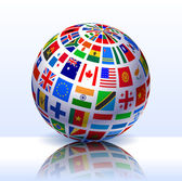 Flags Globe Internet Background — Stock Vector