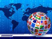 Mundo de banderas con el fondo mundial mapa código binario — Vector de stock