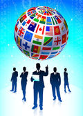 Business Team with Flags Globe — Stock Vector