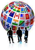 Construction Workers with Flags Globe — Stock Vector