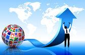 бизнесмен с флагами глобус — Cтоковый вектор
