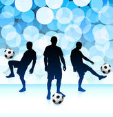 Soccer Player on Lens Flare Background — Stock Vector