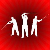Karate sensei kılıç üzerinde parlayan kırmızı arka plan ile — Stok Vektör
