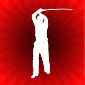 Karate Sensei with Sword on Glowing Red Background — Stock Vector