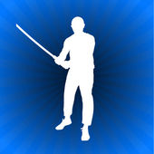 Karate Sensei with Sword on Glowing Blue Background — Stock Vector